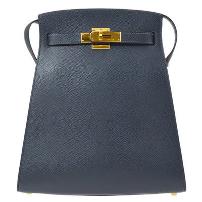 HERMES KELLY SPORT MM Shoulder Bag Blue Indigo Veau Greine Couchevel