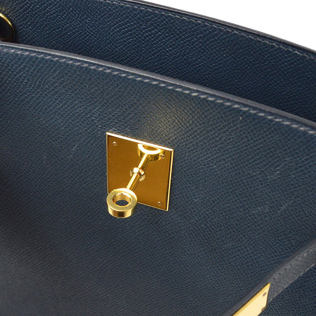 HERMES KELLY SPORT MM Shoulder Bag Blue Indigo Veau Greine Courchevel