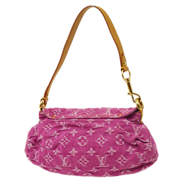 LOUIS VUITTON MINI PLEATY HAND BAG FUCHSIA MONOGRAM DENIM M95216