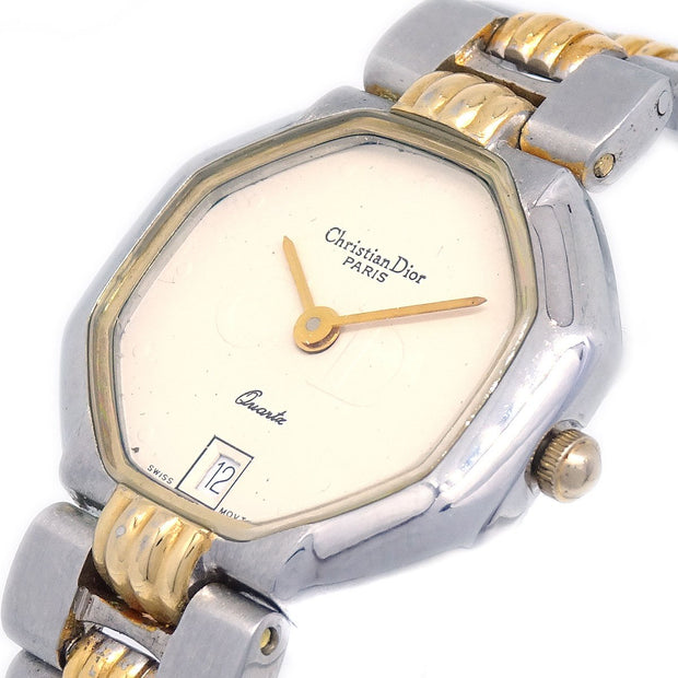 Christian Dior Octagon Ladies Quartz Wristwatch Watch Silver SSxGP