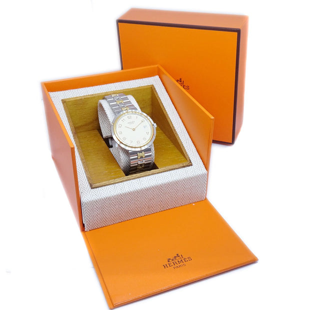 HERMES Olympia Ladies Quartz Wristwatch Watch Stainless Steel