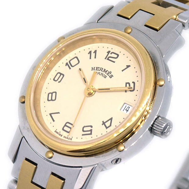 HERMES Clipper Date Ladies Quartz Wristwatch Stainless steel Silver Gold