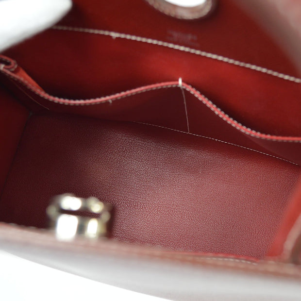HERMES DALVY Hand Bag Rouge Red Veau Grain Lisse