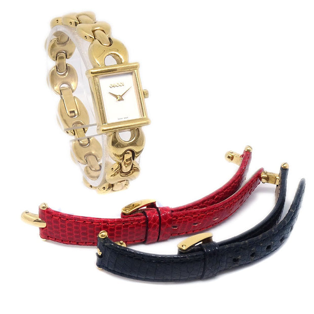 GUCCI 1800L Ladies Quartz Wristwatch Watch Change Band Gold