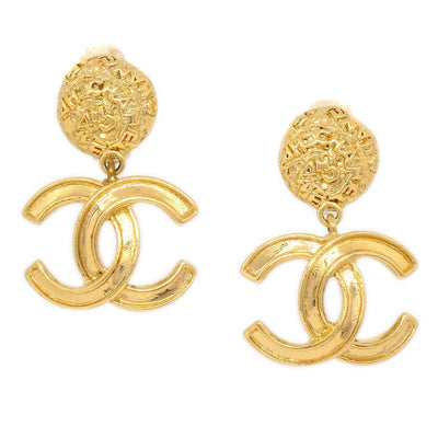 CHANEL CC Shaking Earrings Clip-On Gold 95A
