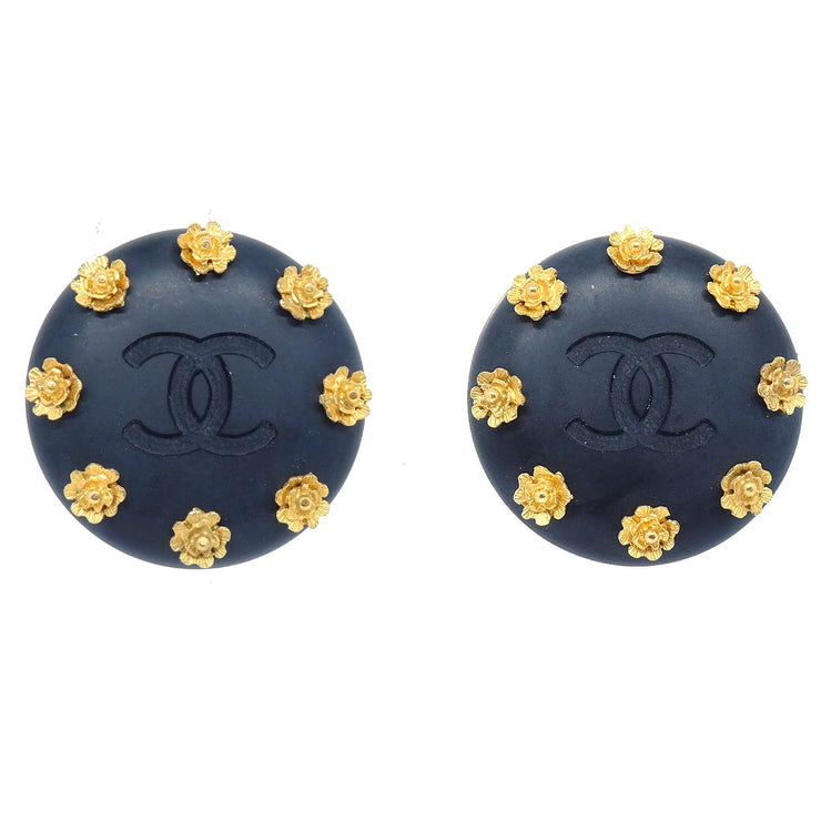 CHANEL Button Earrings Black Clip-On 93A