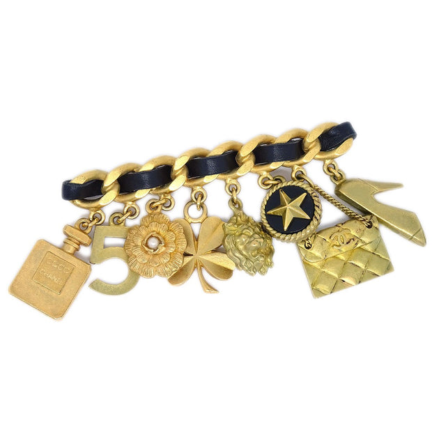 CHANEL Icon Brooch Pin Gold Black 94P