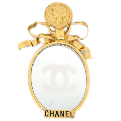 CHANEL Mirror Brooch Pin Corsage Gold