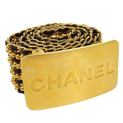 CHANEL Gold Chain Belt Leather 96A