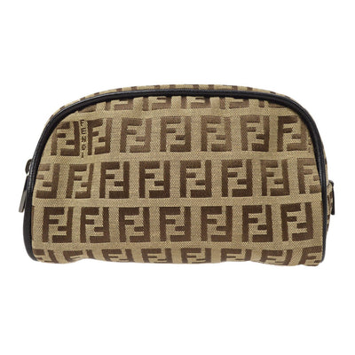 FENDI Zucchino Pattern Cosmetic Pouch Bag Beige