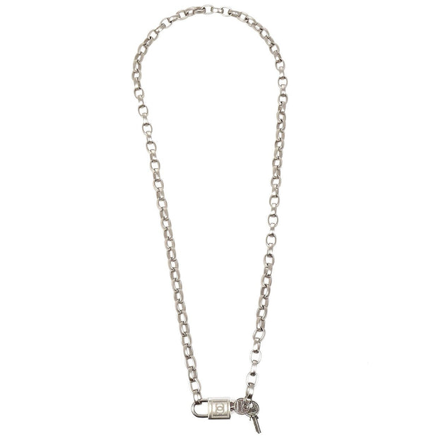 CHANEL Padlock Charm Silver Chain Belt 05A Small Good