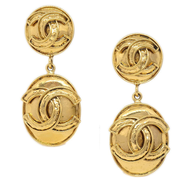 CHANEL Oval Shaking Earrings Clip-On Gold 94P