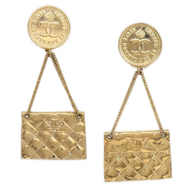 CHANEL Bag Shaking Earrings Clip-On Gold 28