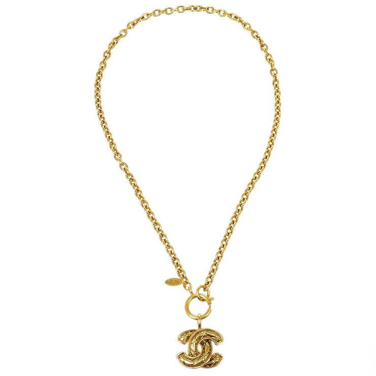 CHANEL Quilted Gold Chain Pendant Necklace 3857