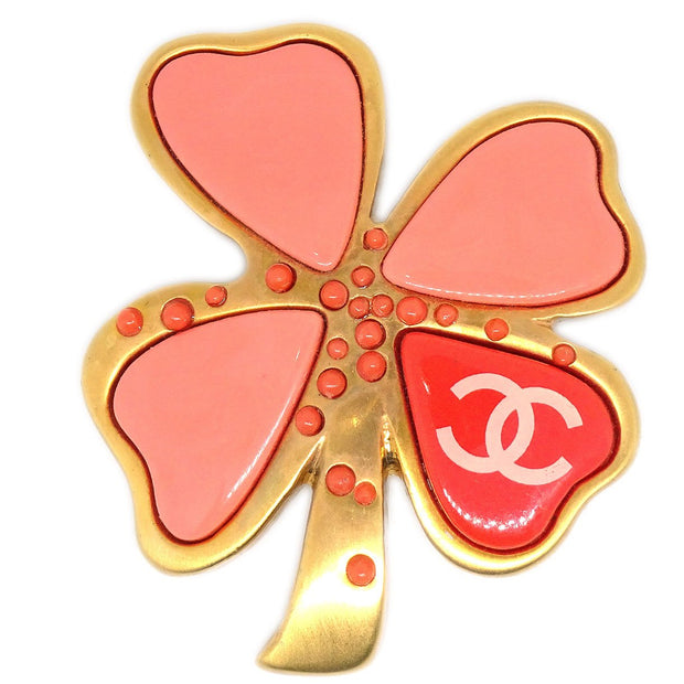 CHANEL Clover Brooch Pin Gold Pink 03P