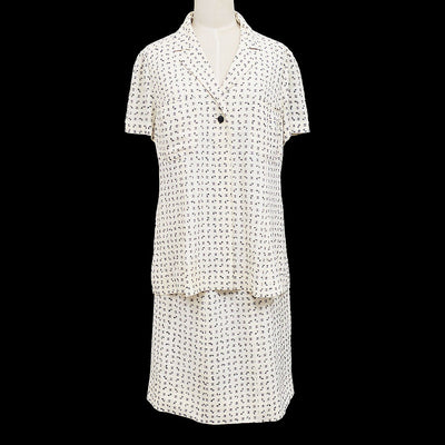 CHANEL 97C Shirt Skirt Setup White