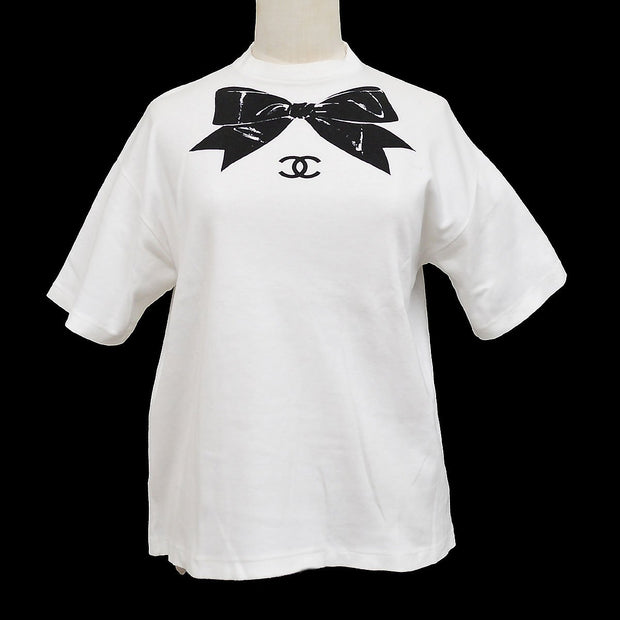 CHANEL 16 #M Bow Short Sleeve T-Shirt White