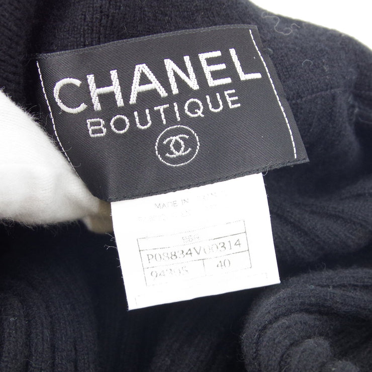 CHANEL 96A #40 Zip-up Long Sleeve Tops Black