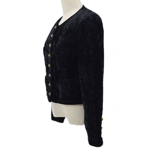 CHANEL 93A #38 94305 Collarless Jacket Black