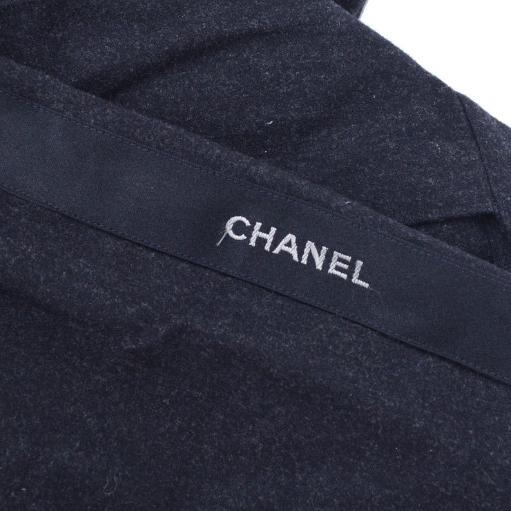 CHANEL 03899 #38 CC Side Logo Tape Long Wide Pants Gray