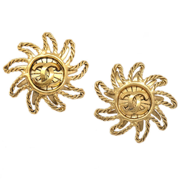 CHANEL Sun Earrings Clip-On Gold 94A