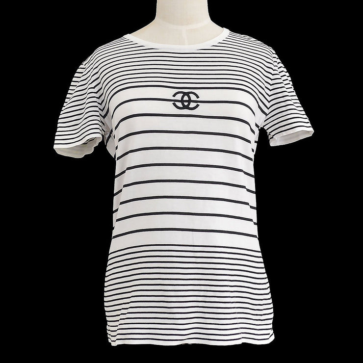 CHANEL #40 Striped T-Shirt Black White