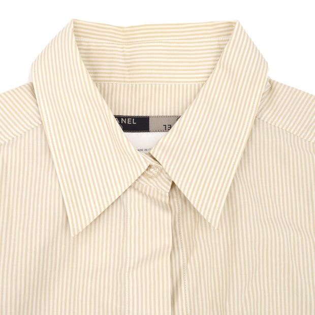 CHANEL 99P #40 Stripe Shirts Blouse Beige