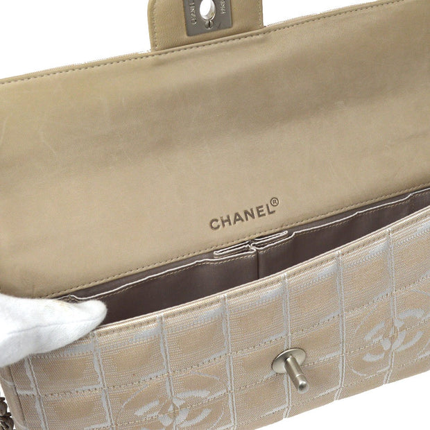 CHANEL Travel Line Chain Hand Bag Beige
