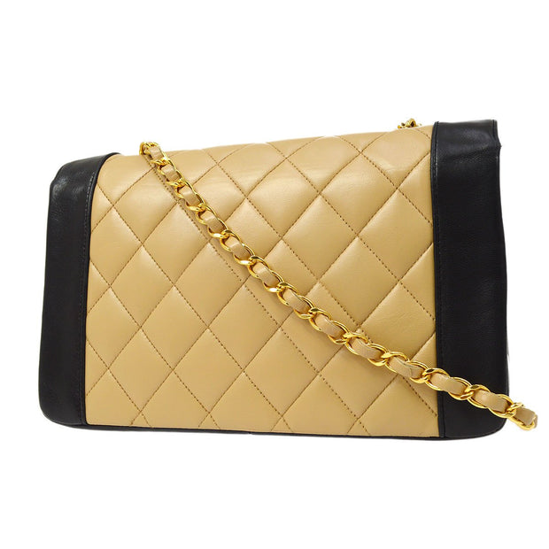 CHANEL Medium Diana Chain Shoulder Bag Beige Black Bi-Color