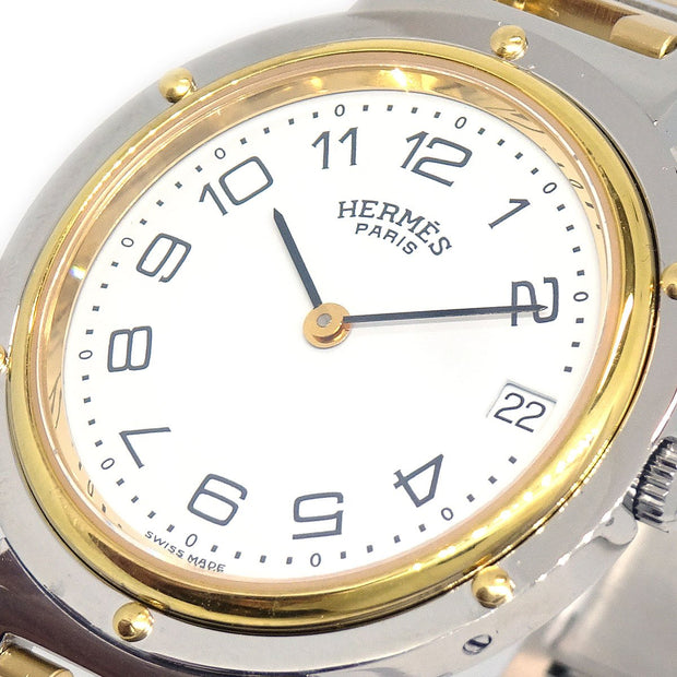HERMES Clipper Boys Date Quartz Wristwatch Watch Stainless steel