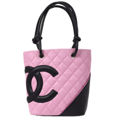 CHANEL Cambon Line Hand Tote Bag Pink Black