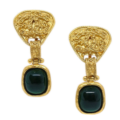 CHANEL Bijou Shaking Earrings Gold Green 94A
