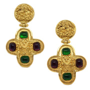 CHANEL Bijou Shaking Earrings Gold Red Green 94A