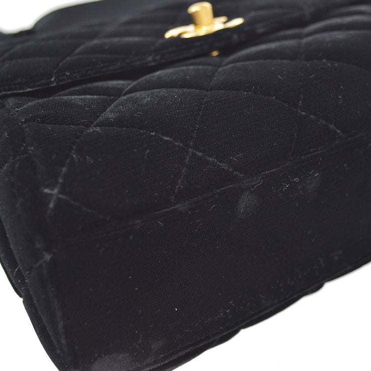 CHANEL Hand Bag Black Velvet