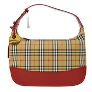 BURBERRY House Check Hand Bag Beige Red