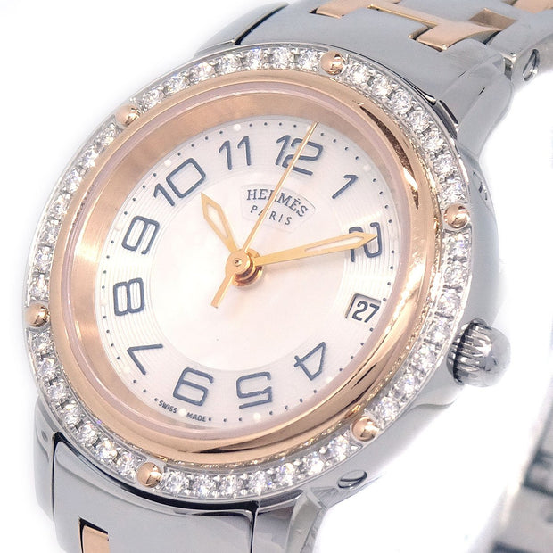 HERMES CP1.222 Clipper Date Ladies Quartz Wristwatch Watch Diamond Bezel