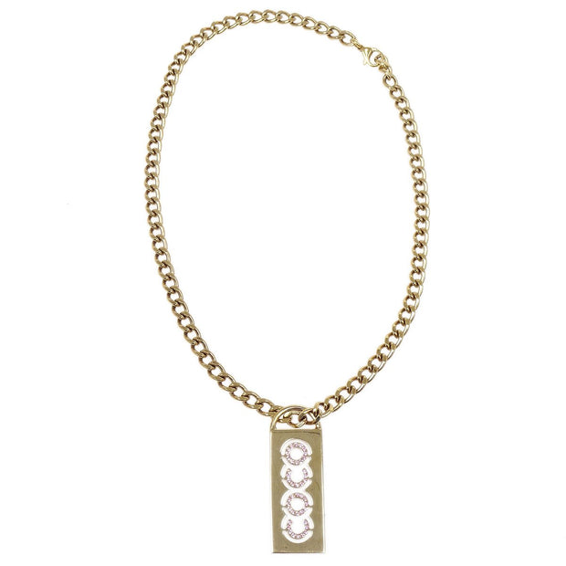 CHANEL COCO Rhinestone Gold Chain Necklace 02P
