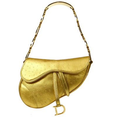 Christian Dior Saddle Hand Bag Gold Ostrich