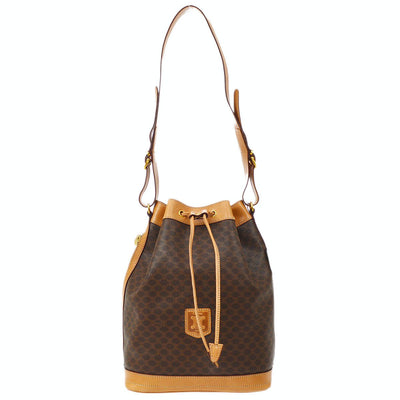 CELINE Bucket Macadam Drawstring Shoulder Bag Brown