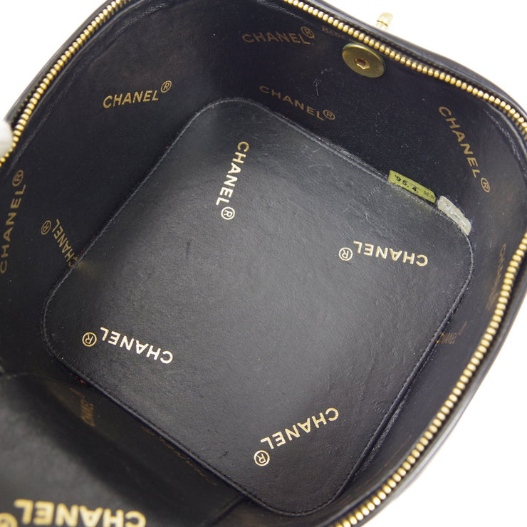 CHANEL Cosmetic Vanity Hand Bag Black Patent Leather