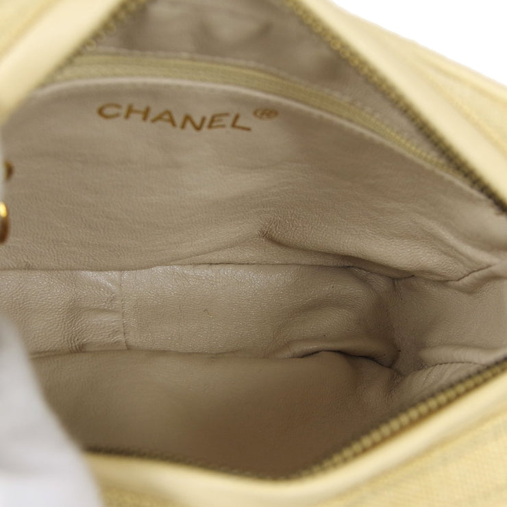 CHANEL Shoulder Bag Beige Linen