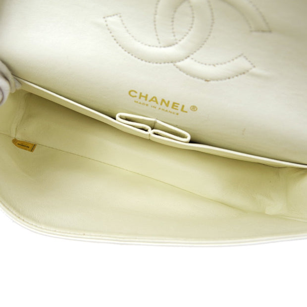 CHANEL Classic Double Flap Medium Shoulder Bag White Caviar
