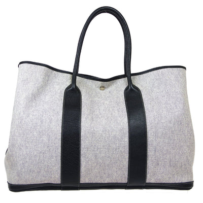 HERMES GARDEN PARTY 49 Voyage Tote Bag Black White Toile H Buffalo