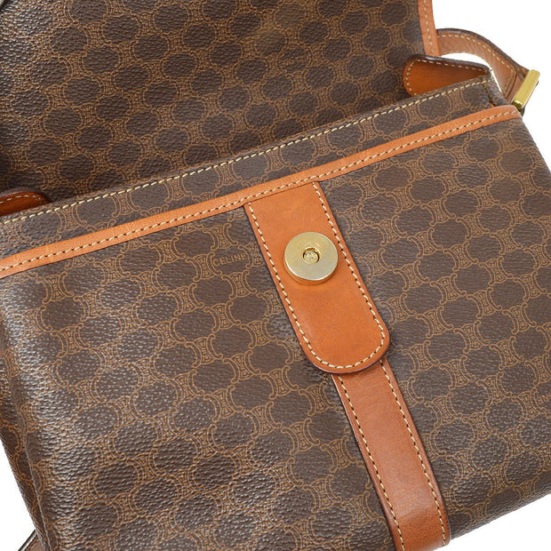 CELINE Macadam Pattern Shoulder Bag Brown