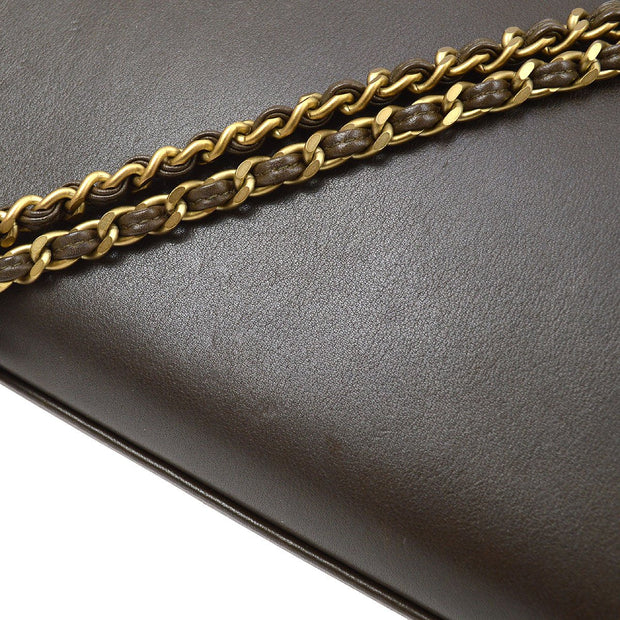 CHANEL Double Chain Hand Bag Dark Brown