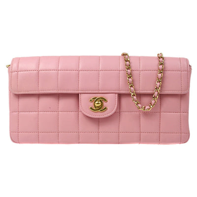 CHANEL Choco Bar Chain Hand Bag Light Pink