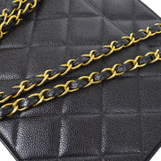 CHANEL Chain Shoulder Tote Bag Black Caviar Skin