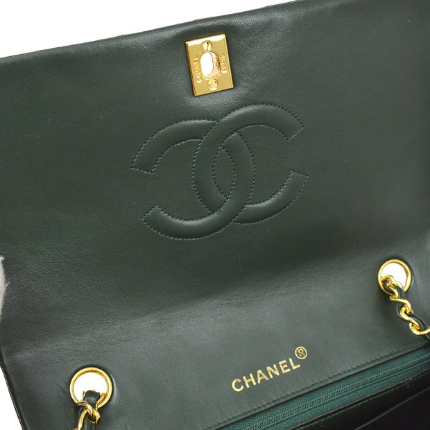 CHANEL Full Flap Chain Shoulder Bag Green