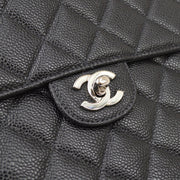 CHANEL Classic Flap Jumbo Double Chain Shoulder Bag Black Caviar