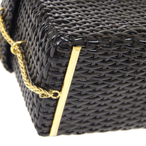 CHANEL Basket Chain Shoulder Bag Black Rattan